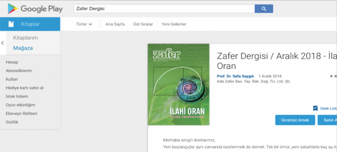 Zafer Dergisi Google Play'de 1